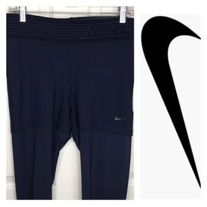 Nike Pro DriFit Navy Blue Leggings Semi Sheer Legs